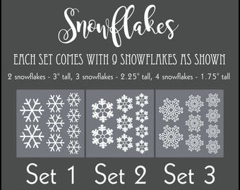 Snowflakes Set, 9 Snowflakes, Snowflake Stickers, Removable Decals, Winter Wedding Decals, Stockings Were Hung, Front Door Decal, Wall Decal