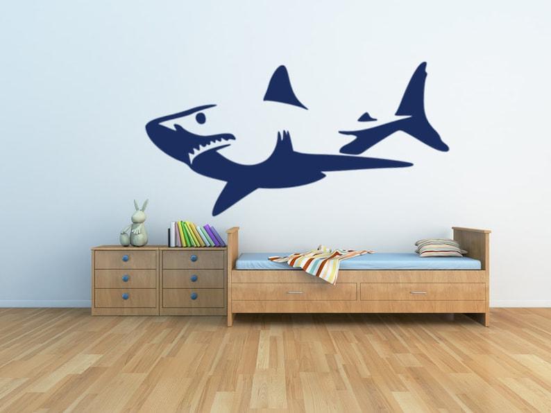 Shark shark decal shark sticker shark wall decal great image 0