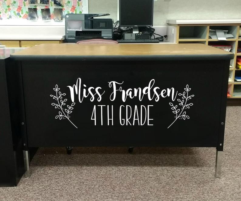 Teacher Name teacher desk decal classroom decor vinyl wall image 0