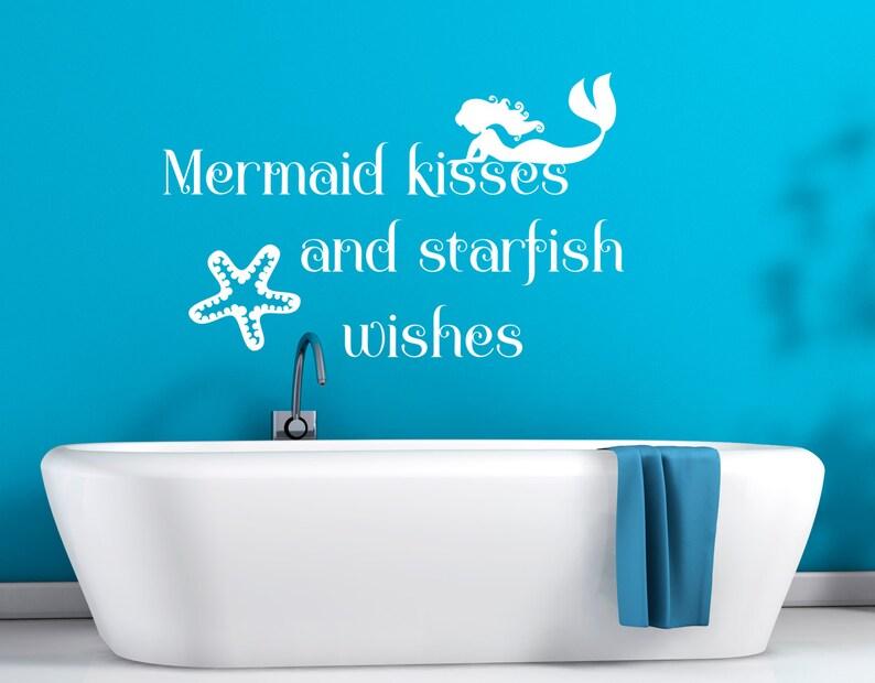 under the sea Mermaid kisses and starfish wishes bathroom decal mermaid bathroom starfish decal mermaid bath decor mermaid decal