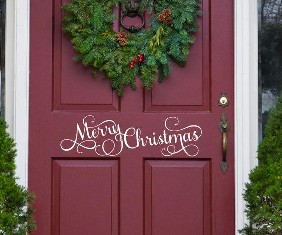 Christmas Wall Decals Removable.Merry Christmas Christmas Wall Words Front Door Decal Removable Decal Christmas Wall Decal Holiday Decals Christmas Vinyl Removable