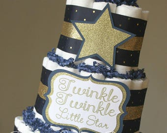 3 Tier Navy and Gold Twinkle Twinkle Diaper Cake, Gold Navy Diaper Cake, Gold Star Baby Shower, Twinkle Twinkle Little Star, Boy Baby Shower