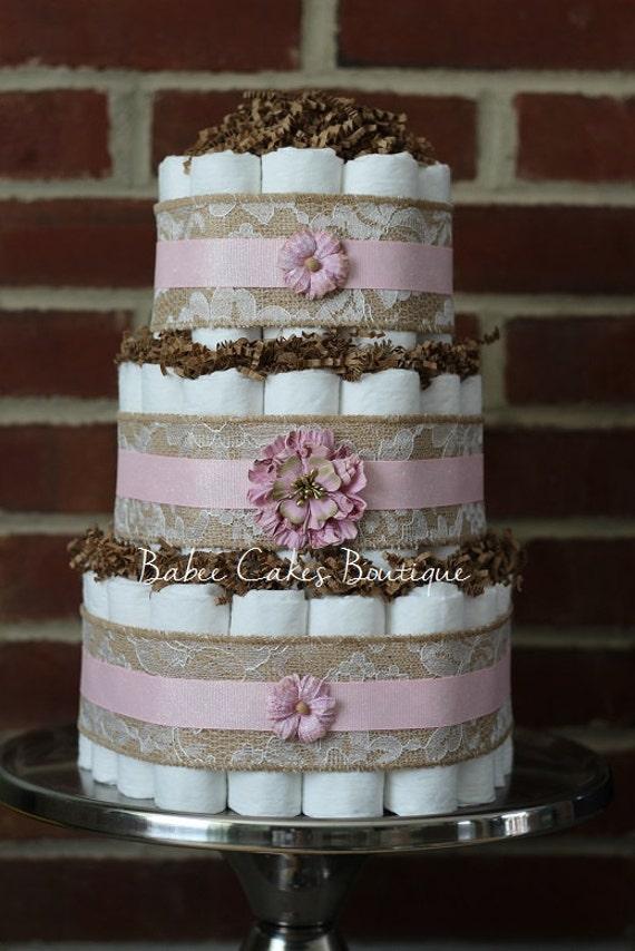 Items Similar To 3 Tier Shabby Diaper Cake Pink Burlap