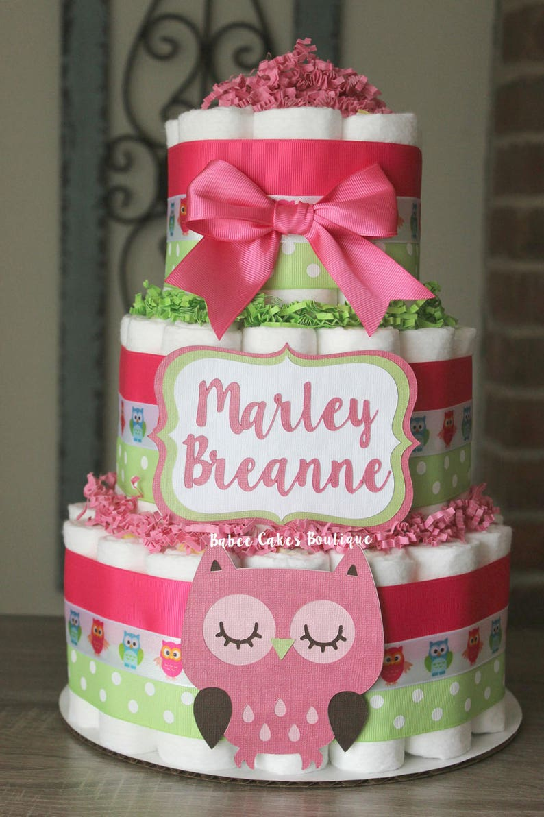 3 Tier Pink And Green Owl Diaper Cake Girls Baby Shower
