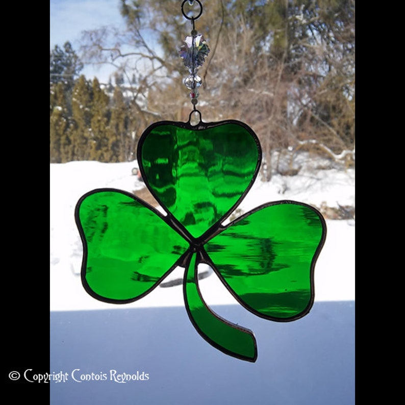 Patrick/'s Day Celtic Cross Stained Glass Suncatcher St