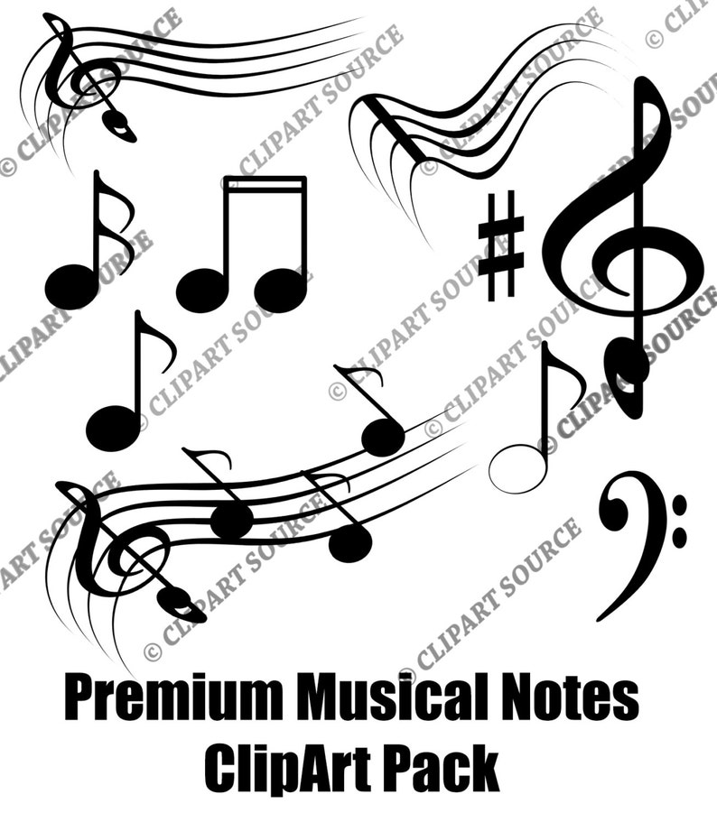 Clip Art Music Notes Clipart Silhouette File Scrapbooking
