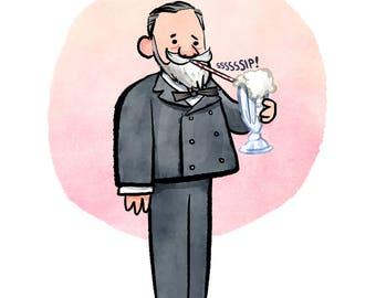 Louis Pasteur and Milkshake Print