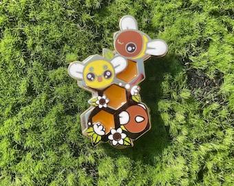 Honeycomb and Bees Pin