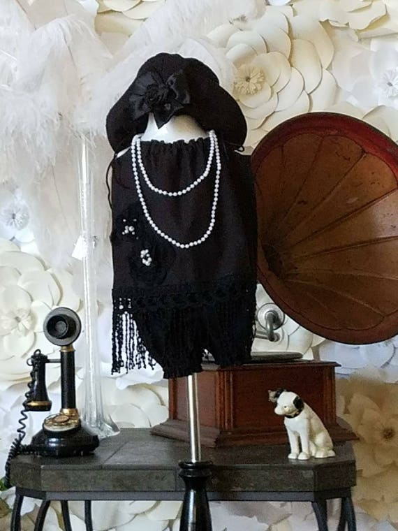 Shabby Baby Set, Girls Shabby Dress, Great Gatsby, Flapper Dress, Toddler Rustic Dress, Little Black Dress, , Black Flapper Dress