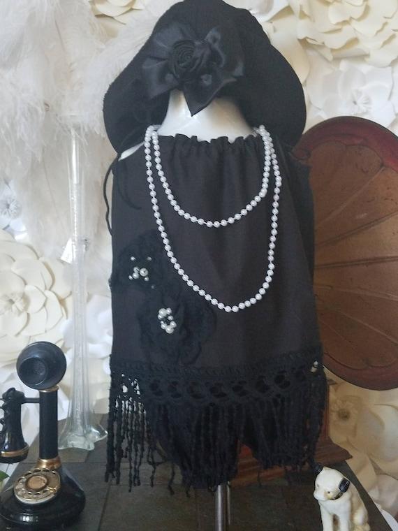 Shabby Baby Set, Girls Shabby Dress, Great Gatsby, Flapper Dress, Toddler Rustic Dress, Little Black Dress, , Black Flapper Dress
