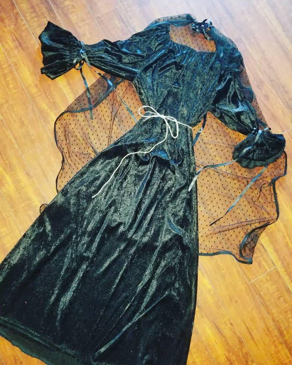 Witch Black Cosplay, Velvet Witch Costume, Witch, Vintage, Goth, Black Witch Dress, Black Witch Gown, Long Witch Dress, Witch Hat, Black