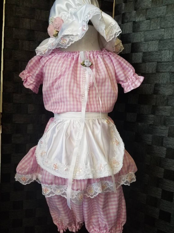 Nursery Rhyme Cosplay, Country Dress,  Pink Toddler Dress, Gingham Dress, Little Bo Peep, Bloomers Set, Easter Dress, Baby Pink Outfit,