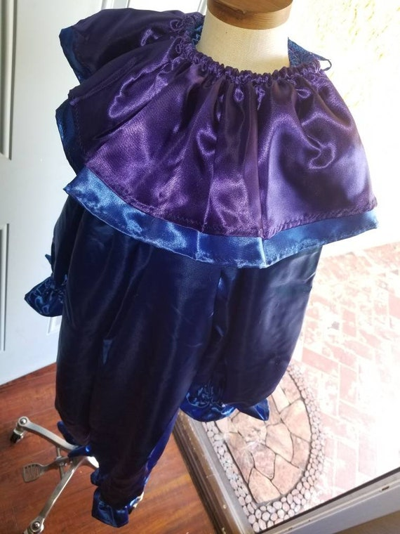 Traditional Clown Costume, Satin Clown, Mime Clown, Classic Cown, Ballerina Clown, Cosplay Clown, Royal Blue & Purple Costume. Child 7/8