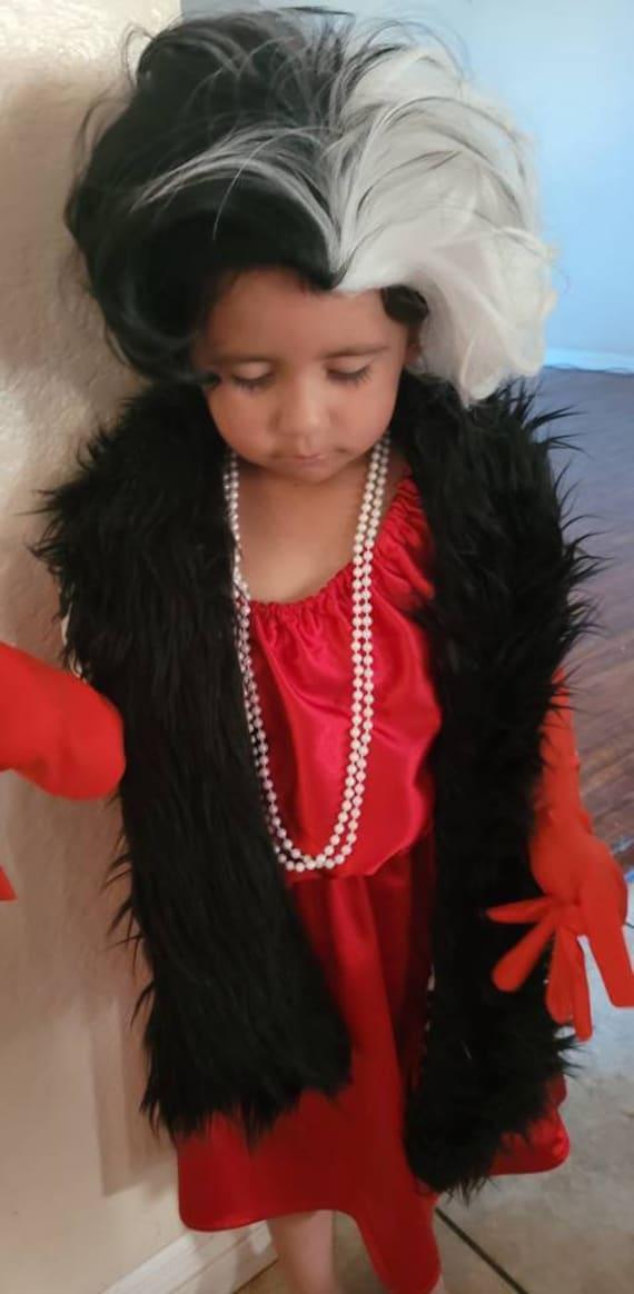 Cruella DeVil Costume, wrap, dress set, 101 Dalmations, Toddler Set, CRUELLA 101 Dalmatians Costume,CRUELLA 101 Dalmatians,Halloween Costume
