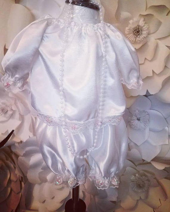 Laced Bloomers Set, Satin and Lace Baby, Bloomers Set, 1920's Infant Set, Girl Laced Bloomers Set, Infant Lace Bloomers set Vintage White