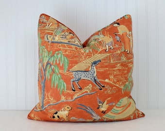 One or Both Sides -  Thibaut Fishing Village Orange/Teal/Beige/Navy/Black/Light Green Pillow Cover with Self Cording