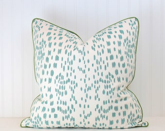 One or Both Sides - Brunschwig & Fils Les Touches Aqua Pillow Cover with Self Cording