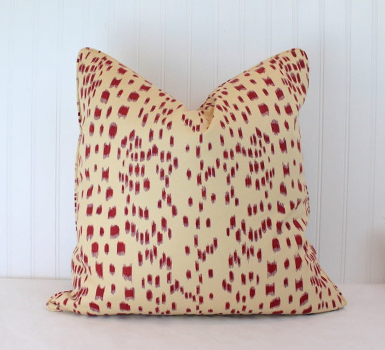 Les Touches BlueGreenPinkBordeauxAquaTan Pillow Cover with Self Cording One or Both Sides