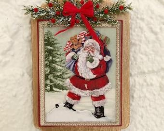 PIL478 MINIATURE DOLLHOUSE 1:12 SCALE BLISSFUL CHRISTMAS SANTA CLAUSE PILLOW