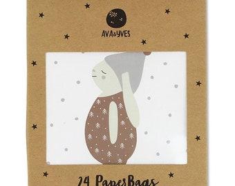 Geschenk- und Adventskalendertütchen Set 4 Hase braun (Set mit 24 Tüten)