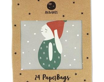 Geschenk- und Aventskalendertütchen Set 1 – Hase blau (Set mit 24 Tüten)