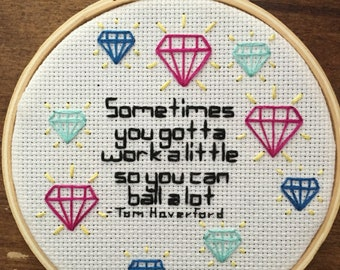 Parks and Rec Tom Haverford Quote Embroidery