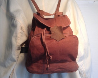 Backpack bag,brown leather backpack, bag, purse ,1980s