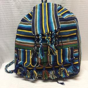 Backpack bag,Gunne sack backpack,Large,backpack painted canvas,coffee bag,Guatemala,tan,green,blue,purple,back pack
