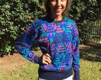 Meister sweater,Geometric sweater,Small,S,1980s,purple,pink,green,black