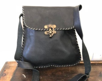 Black leather purse,crossbody,shoulder bag,motorcycle bag,whip stitched