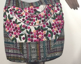 Large Embroidered Roses, Cross Body, Shoulder Bag, Red, Yellow, Green