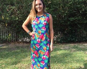 986b67a0076cd Long Hawaiian dress, large, hibiscus, pineapples, blue, green, pink
