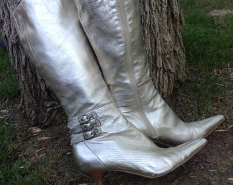 8b199ef5cb Gold Leather boots,Charles David ,designer ,Gold leather ,metallic,gold,  boots , 8.5 M
