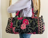 Quilted cotton duffel bag, shoulder bag, croft and barrow, pink poppies