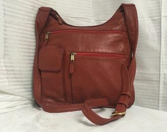 J.P. Ourse and Cie, red leather, organizer bag,  crossbody, bag, shoulder bag