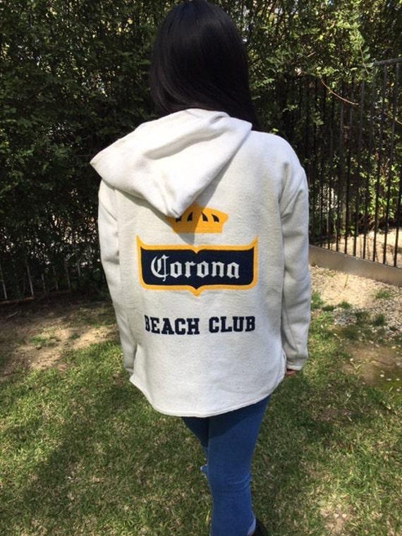Corona Beach club hoodie,Baja Hoodie,Large,Unisex,Hooded pullover, Mexican Hoodie,white,off white