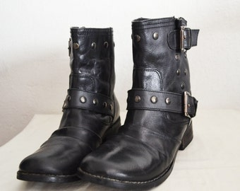 Free Ship Genuine Leather Ankle Boots Women's Size 7 Studded Shoes