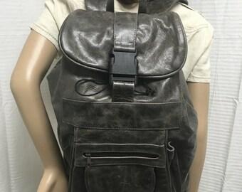 Leather backpack,XLarge, gray, Genuine Leather, Backpack, Shoulder Bag