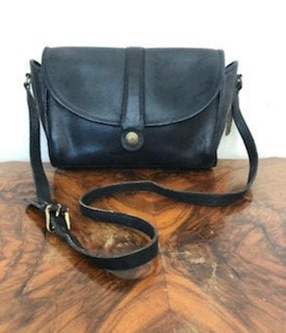 Vintage Coach purse, black leather, vintage Coach,