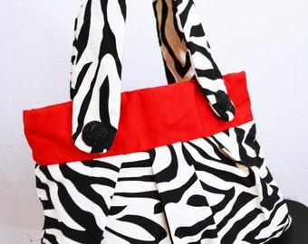 Summer purse,cotton,Zebra Purse, Red ,Black ,White ,Shoulder Bag,beaded buttons,Zebra print