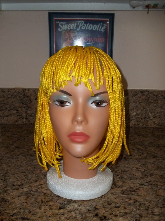 Costume wig,yellow wig, Yellow Braided wig,