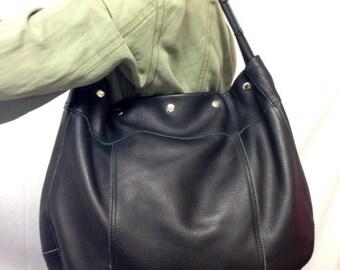 Free Ship Large Soft Black Genuine Leather Hobo Purse Shoulder Bag J. Jill