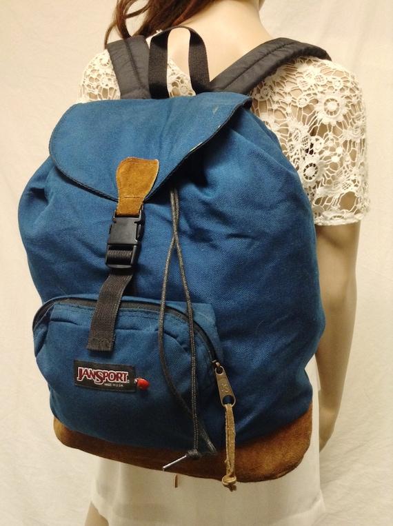 Jansport Backpack, Leather Bottom ,Teal Blue,Backp