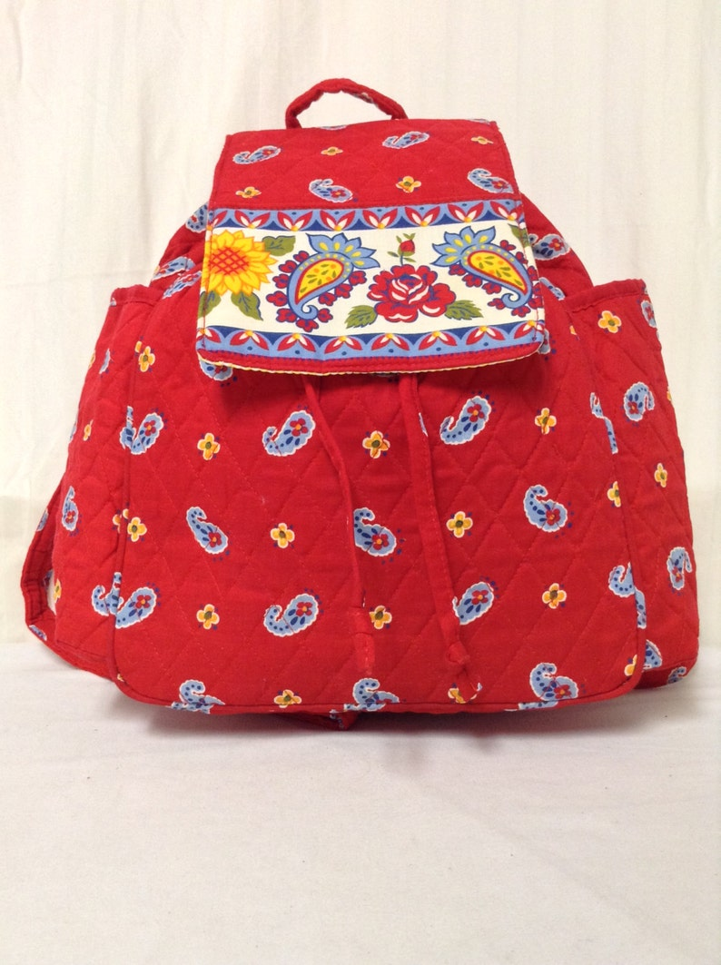 Red Paisley Drawstring Back pack Quilted Quilted backpack
