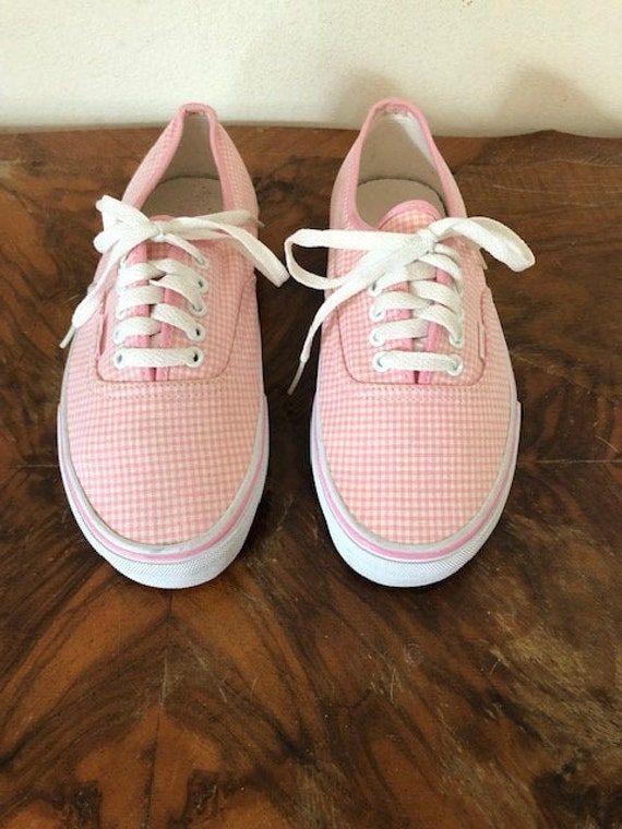 Vans, size 9, Pink, white, checkered shoes