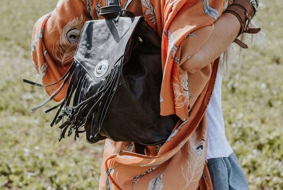 Backpack bag, Black leather backpack, fringed back