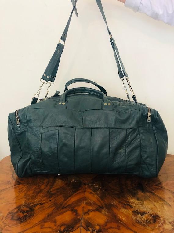 Large green leather duffel bag, travel bag, gym ba