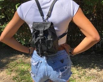 "Backpack bag, black leather, mini backpack,shoulder bag, purse 9"" 5"" 3"" small bags mini"