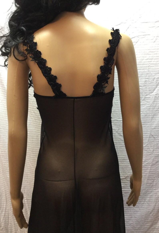 Semi Sheer Black Lace Long Black Lingerie Medium