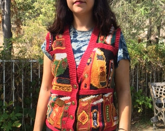 Ugly Christmas sweater, sweater vest ,small, beaded sweater vest